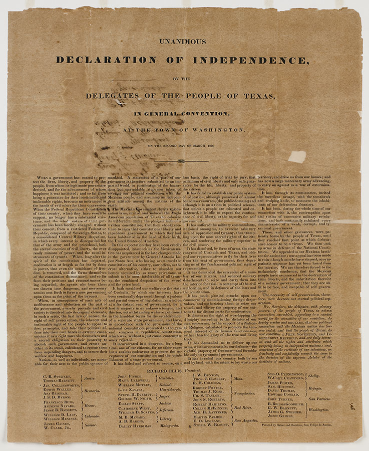 Unanimous Declaration of Independence by the delegates of the People of Texas, in general convention at the town of Washington, March 2, 1836. bc_0265