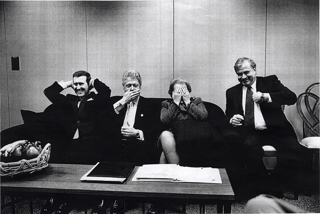 """See No Evil"": Secretary of Defense William Cohen, President Bill Clinton, Secretary of State Madeleine Albright, and National Security Advisor Sandy Berger, April 25, 1999. Photo by Diana Walker. di_00554"