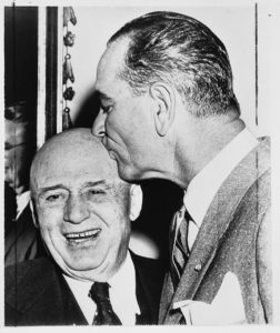 Senator Lyndon B. Johnson kisses Speaker of the House Sam Rayburn on the head on Rayburn's  seventy-fourth birthday, January 1, 1956. Sam Rayburn Papers. di_00832