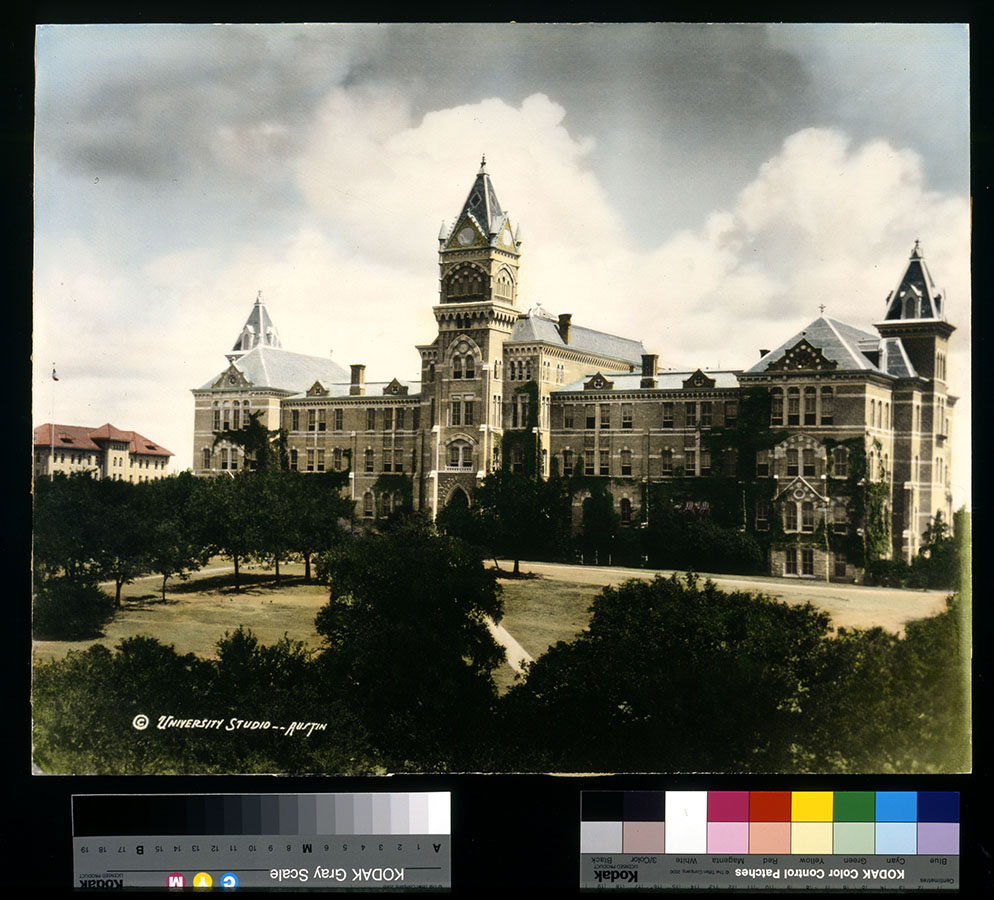 Color tinted photograph of the Old Main Building, ca. 1900. di_01441