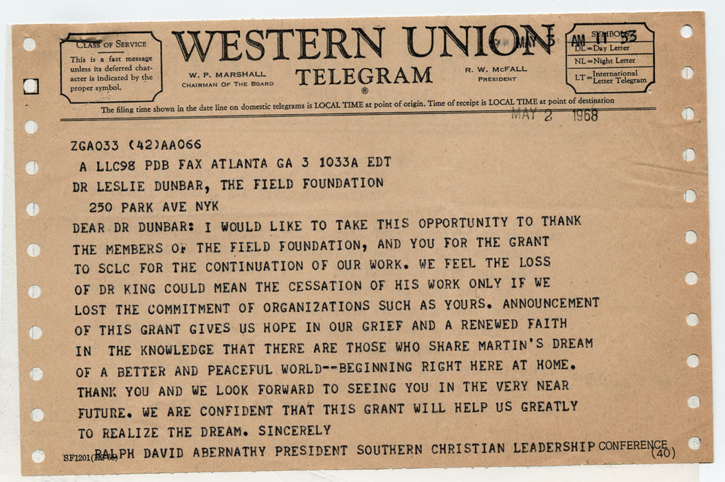 Telegram from Ralph David Abernathy to the Field Foundation, May 2, 1968. Field Foundation Archives. di_01761