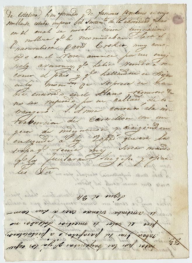 Page from Lt. Col. José Enrique de la Peña's narrative, with an account of the capture of David Crockett, 1836. di_02227