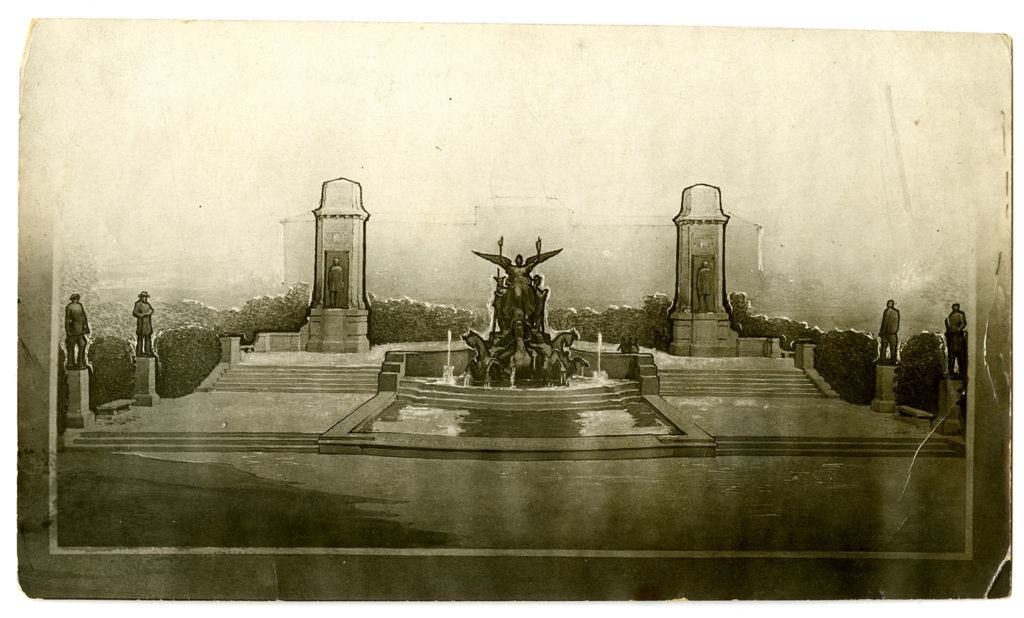 Photograph of study for the proposed design for the Littlefield Fountain, Austin, Texas ca. 1920. di_02459
