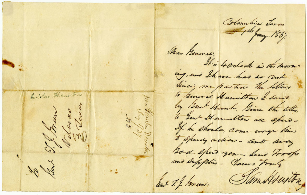 Letter from Sam Houston to Gen. Thomas Jefferson Green, January 1, 1837. Sam Houston Papers. di_03745