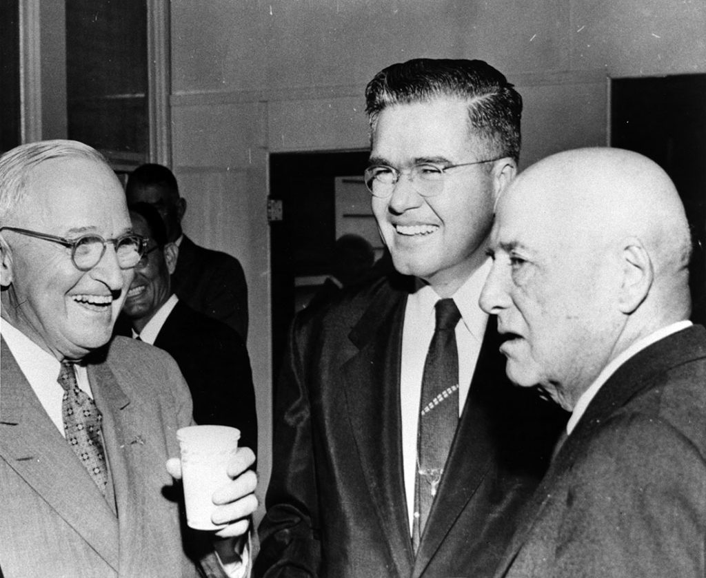 Former President Harry S. Truman, Dolph Briscoe, and Sam Rayburn, 1959. Dolph Briscoe Papers. di_03995