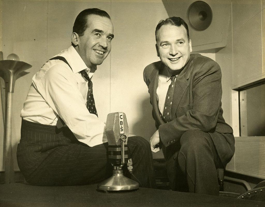 Edward R. Murrow and John Henry Faulk in the CBS Radio studio, ca. 1940s–1950s. di_04174