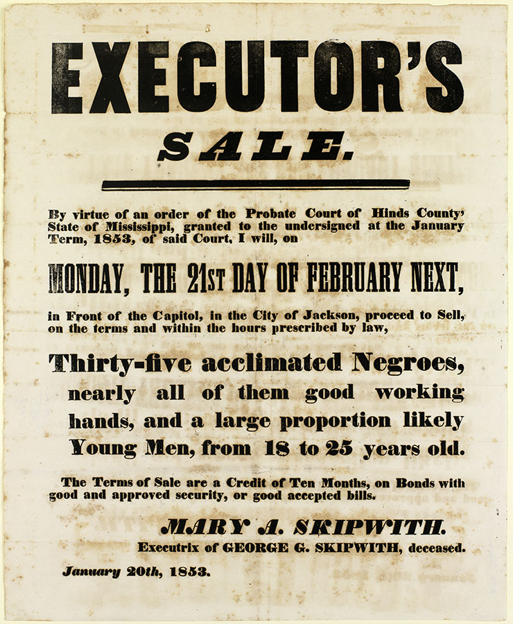 Broadside advertising an executor's sale of thirty-five slaves, Jackson, Mississippi, January 20, 1853. di_04187