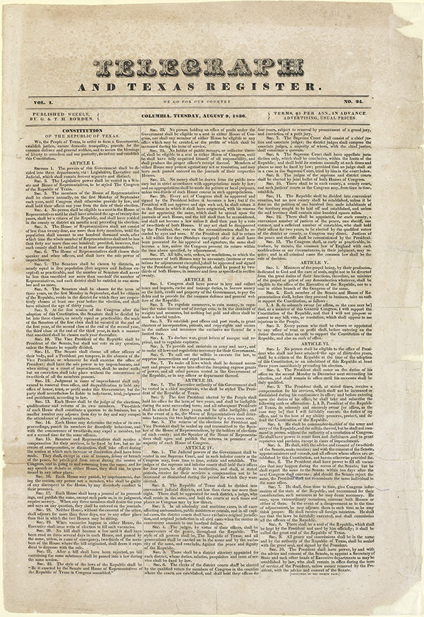 Telegraph and Texas Register with the Constitution of the Republic of Texas, August 9, 1836. di_04282