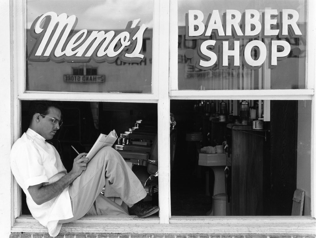 Memo's Barber Shop, Corpus Christi, Texas, April 1949. Photo by Russell Lee. di_04512