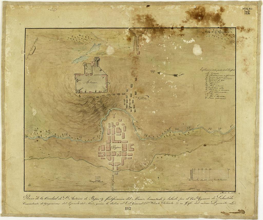 """""""Plano de la ciudad de San Antonio de Béxar y fortificación del Alamo . . . Marzo de 1836"""" (Plan of San Antonio de Bexar and the Alamo), March 1836. Ygnacio de Labastida. di_04550"""