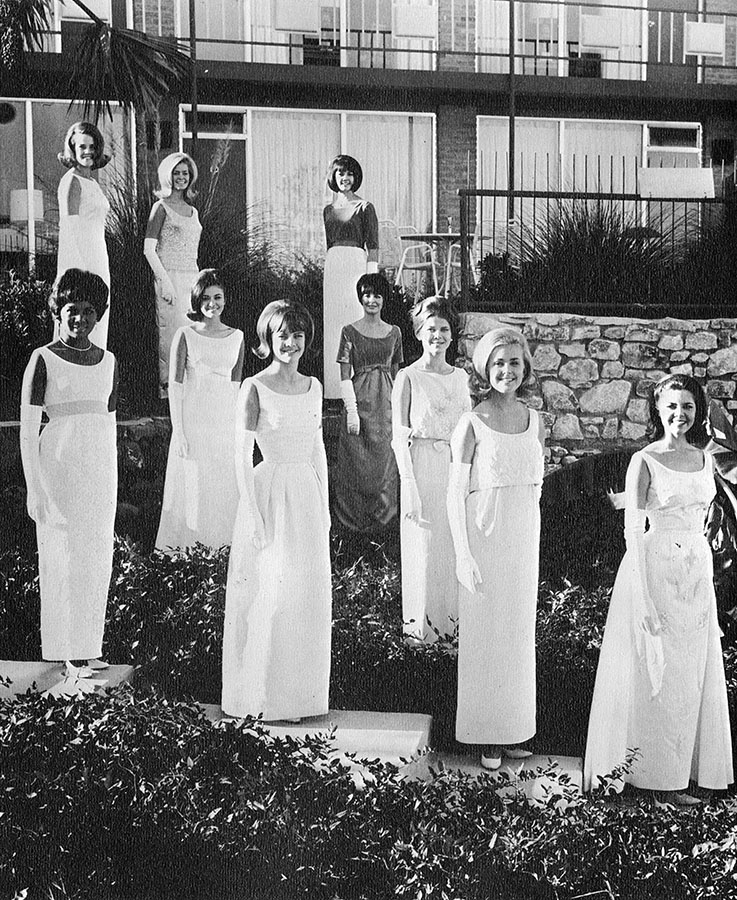 """The """"Ten Most Beautiful"""" female students from the University of Texas Cactus yearbook, 1965–66. di_04690"""