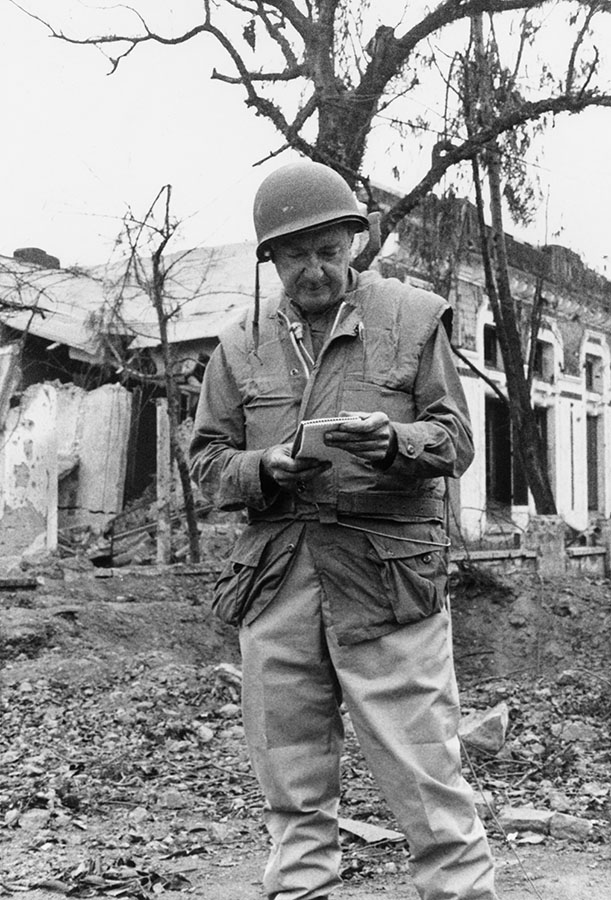 Walter Cronkite at Hue following the Tet Offensive, Vietnam, February 1968. di_05982