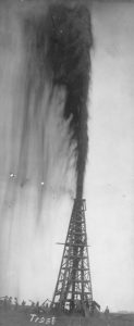 Lucas oil gusher at Spindletop, Beaumont, Texas. Photo by F. J. Trost, 1901. Prints and Photographs Collection. di_06298