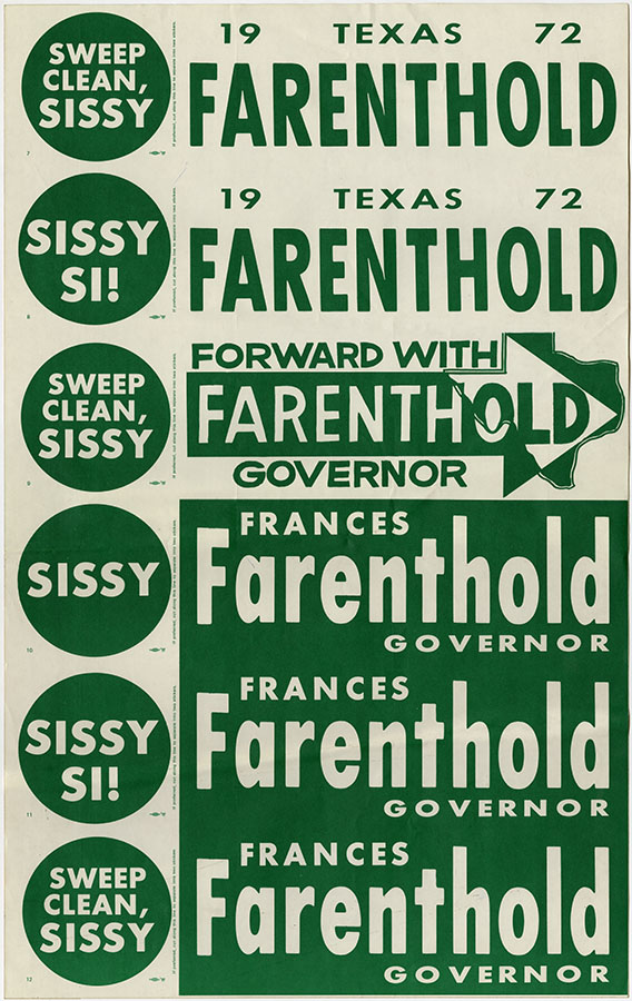 "A sheet of uncut bumper stickers for Frances ""Sissy"" Farenthold, ca. 1972. Paul Harvey Bumper Sticker Collection. di_06870"