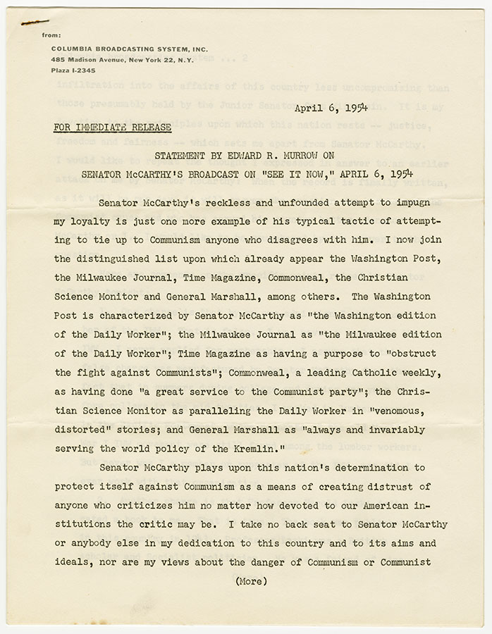 Statement written by Edward R. Murrow of CBS News regarding Senator Joseph McCarthy's accusations of Murrow's communist associations, April 6, 1954. di_08865