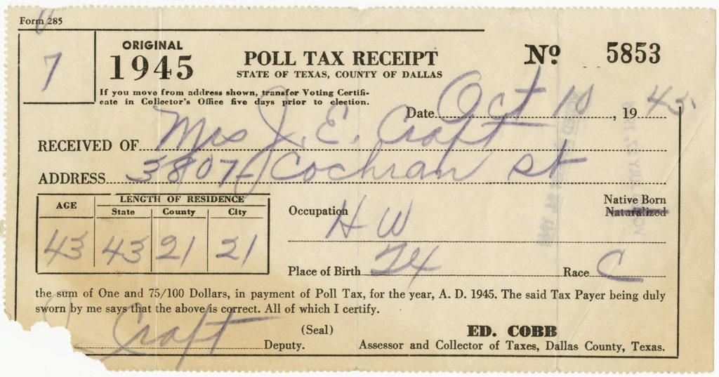 Juanita Craft's poll tax receipt, Dallas County, Texas, October 10, 1945. Juanita Jewel Shanks Craft Collection. di_08910