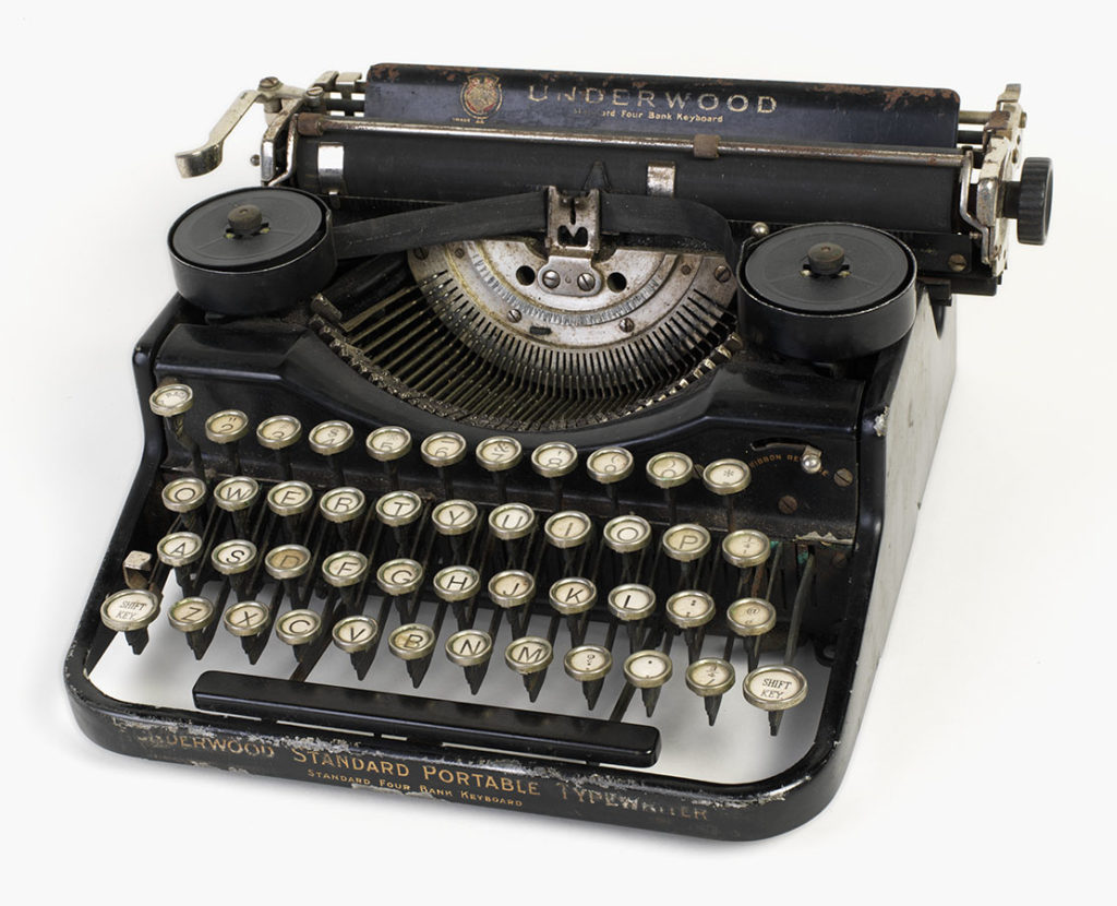 Underwood typewriter used by Andy Rooney during his service in the U.S. Army in World War II, ca. 1940. di_09119