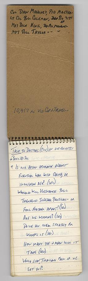Notebook kept by CBS News reporter Walter Cronkite during the Vietnam War Tet Offensive, February 1968. di_09121