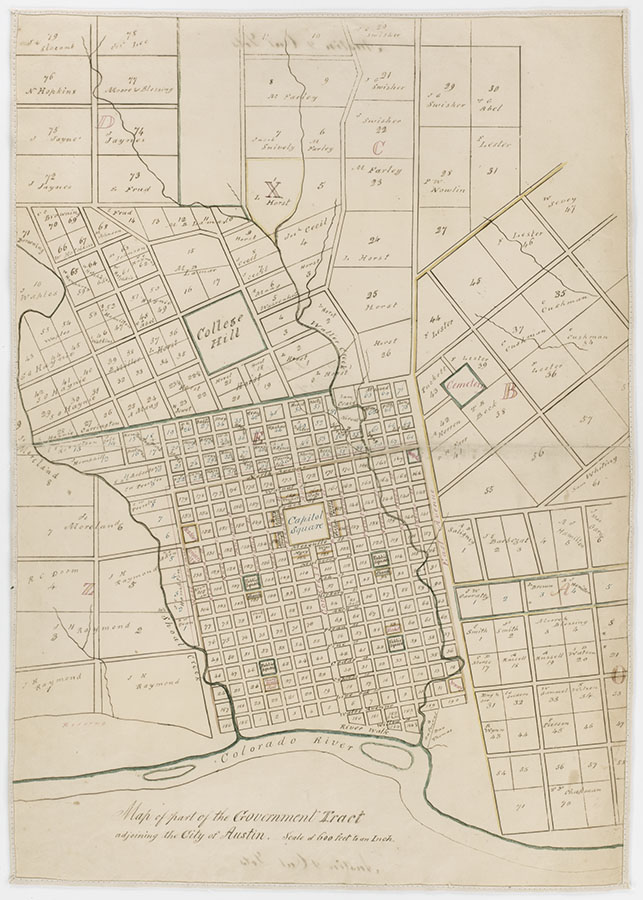 Map of part of the government tract adjoining the city of Austin with the future location of a state university for Texas, 1858. di_10260