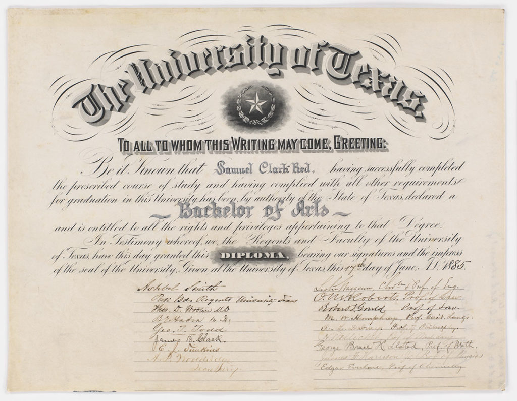 First diploma awarded by the University of Texas, 1885. di_10727