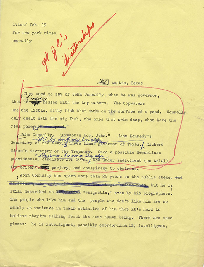 Draft of Molly Ivins's New York Times column on John Connally, ca. 1976–82. e_bte_17