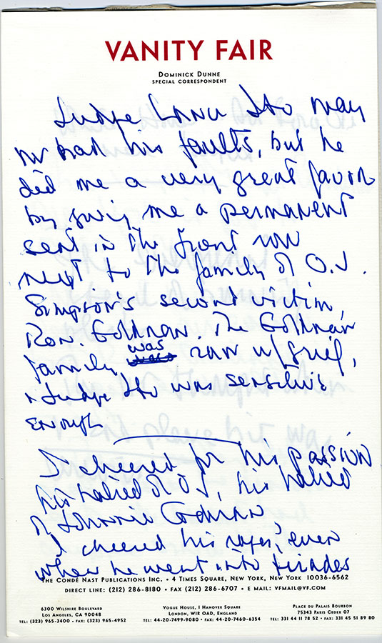 Vanity Fair correspondent Dominick Dunne's notes on the O. J. Simpson murder trial, ca. 1995. e_dd_0050