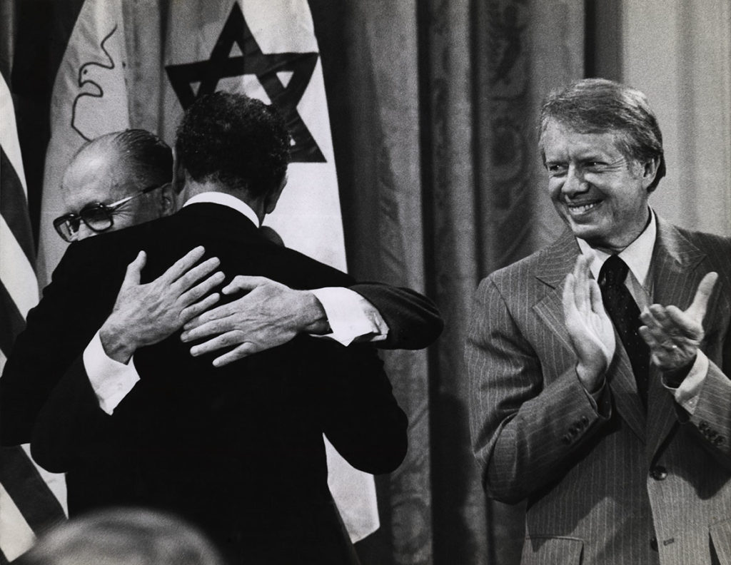 President Jimmy Carter, Israeli Prime Minister Menachem Begin, and Egyptian President Anwar Sadat, September 17, 1978. Photo by Darryl Heikes. e_dlh_0015