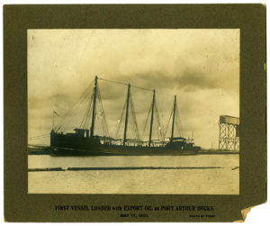 First vessel loaded with export oil at Port Arthur docks, 1901. Mody C. Boatright Papers. e_enr_090