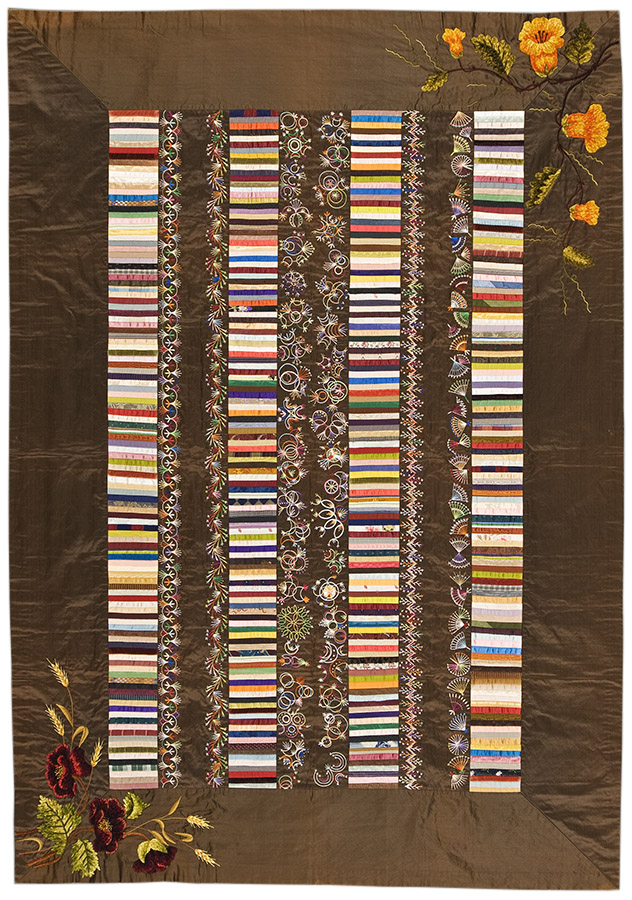 Roman Stripe, California, ca. 1880–1900. Winedale Quilt Collection, Joyce Gross Quilt History Collection. e_wqh_0310