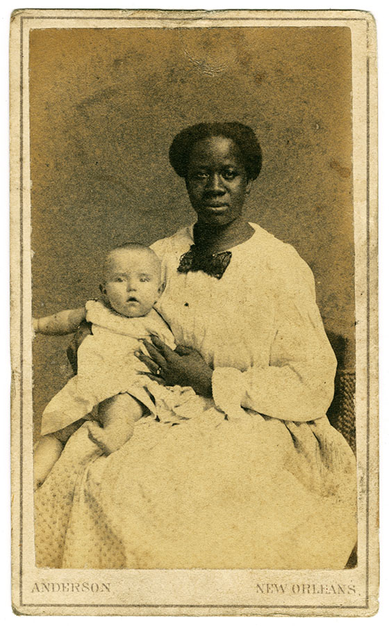 Unidentified African American woman with infant, New Orleans, Louisiana, ca. 1864–65. ntc_0068