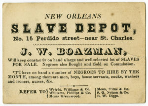 New Orleans slave depot card advertising slave sales. Natchez Trace Collection. Natchez Trace Collection, Ephemera Collection. ntc_0305a