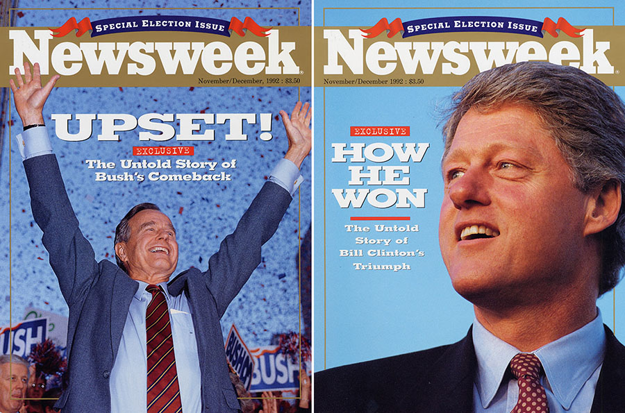 Newsweek cover designs for the potential results of the 1992 presidential election, November 1992. di_00605 and di_00606