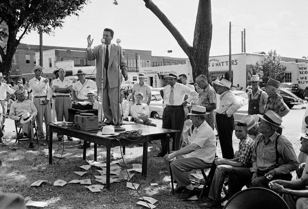 Ralph Yarborough campaigning in Paris, Texas. Photo by Russell Lee, August 14, 1954. Russell Lee Photograph Collection. e_rl_0067