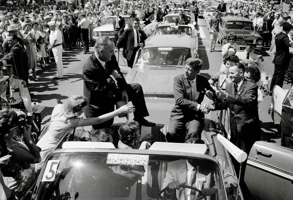 John F. Kennedy and Lyndon B. Johnson campaigning in Texas. Photo by Russell Lee, September 1960. Russell Lee Photograph Collection. e_rl_0085