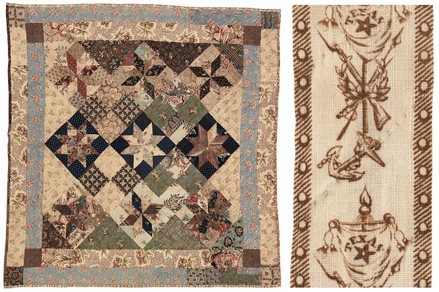 Le Moyne Stars Crib Quilt, ca. 1835 - 1850. e_wqh_0418 and e_wqh_0418_3