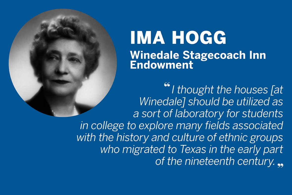 "Quote from Ima Hogg, who established the Winedale Stagecoach Inn Endowment. ""I thought the houses [at Winedale] should be utilized as a sort of laboratory for students in college to explore many fields associated with the history and culture of ethnic groups who migrated to Texas in the early part of the nineteenth century."""