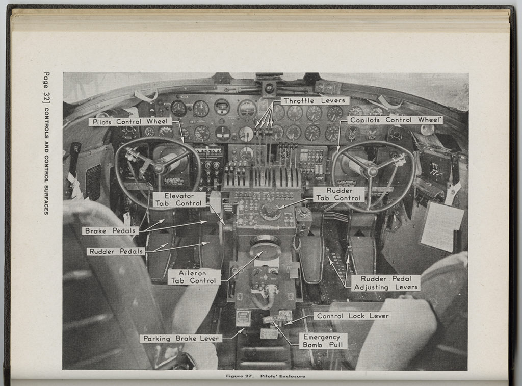 """""""Pilots' enclosure"""" page from """"Service and Instruction Manual, Airplane General, B-24D Airplane,"""" ca. 1942. e_376th_0032"""