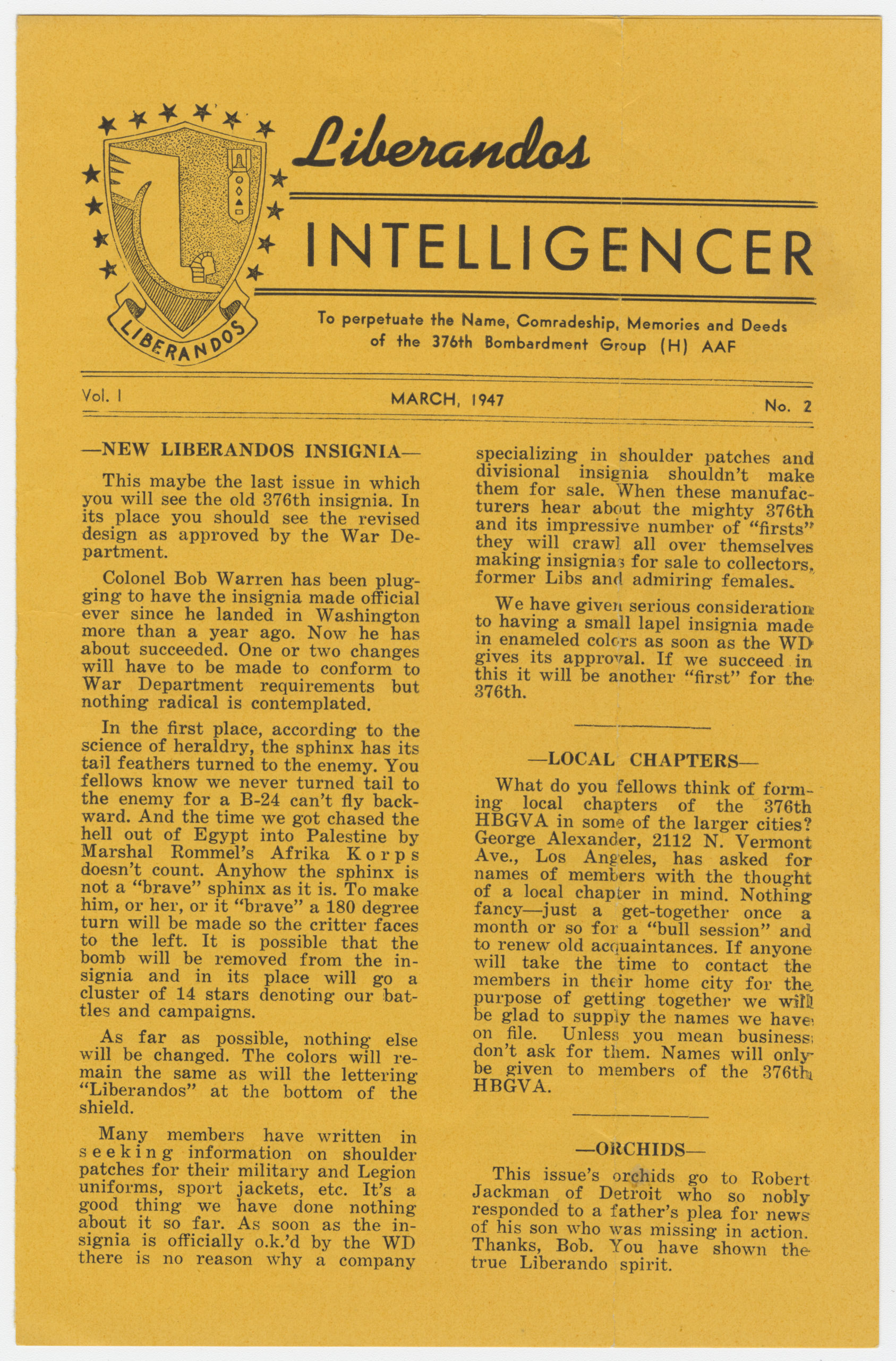 """Front page of """"Liberandos Intelligencer"""" newsletter, March 1947. e_376th_0032"""