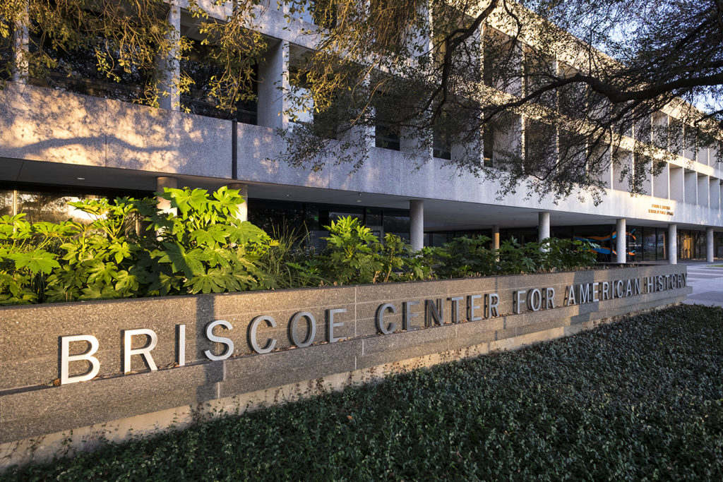 Briscoe Center for American History sign outside of the building. Photo by Jay Godwin.