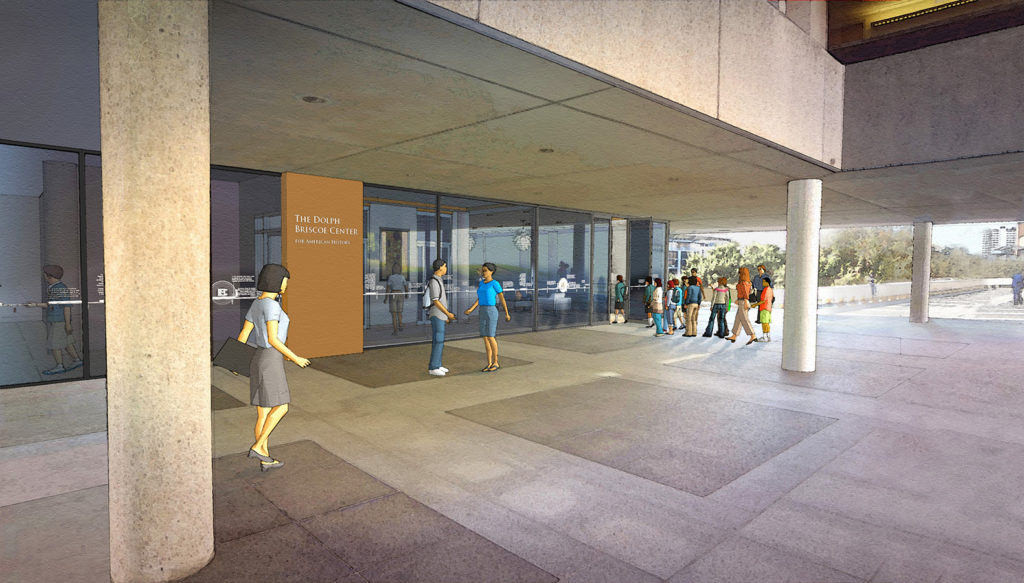 Artist rendering of the Briscoe Center's entrance.