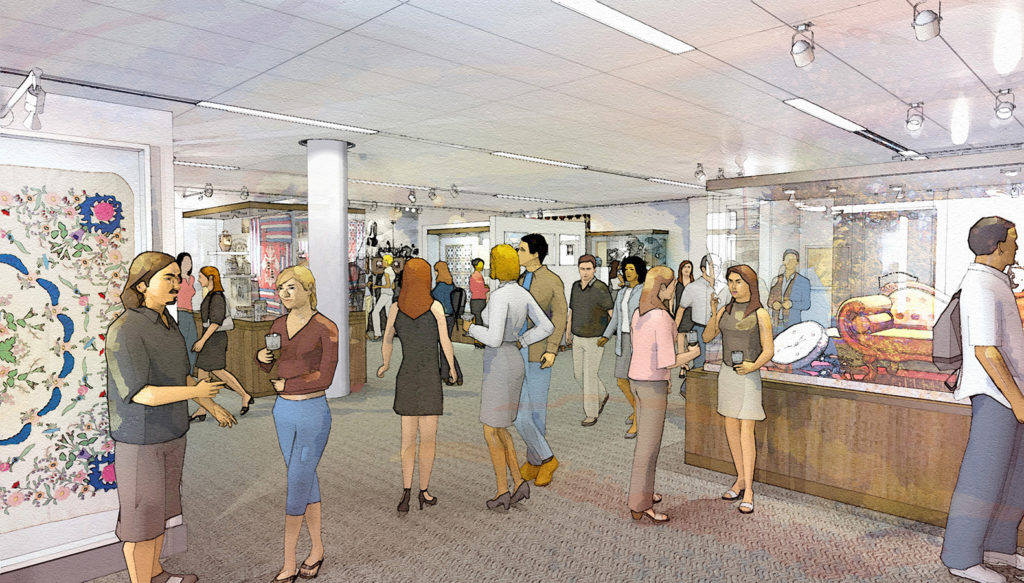 Artist rendering of the main exhibition gallery space.