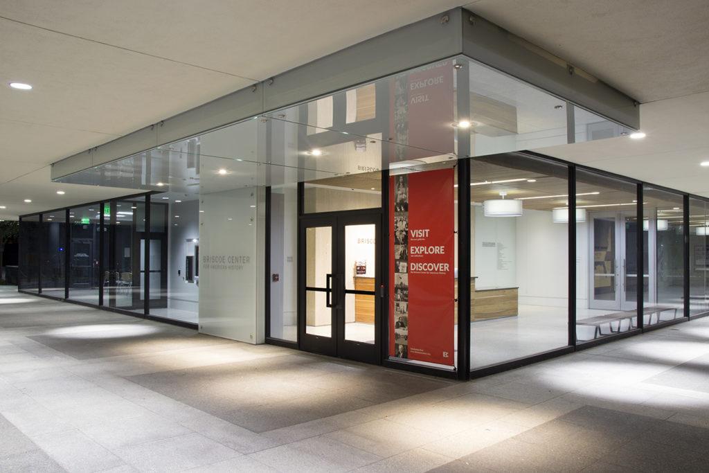 Exterior shot of the Briscoe Center entrance.