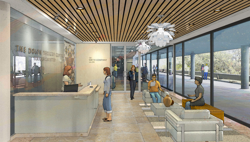 Artist depiction of the Briscoe Center's lobby.