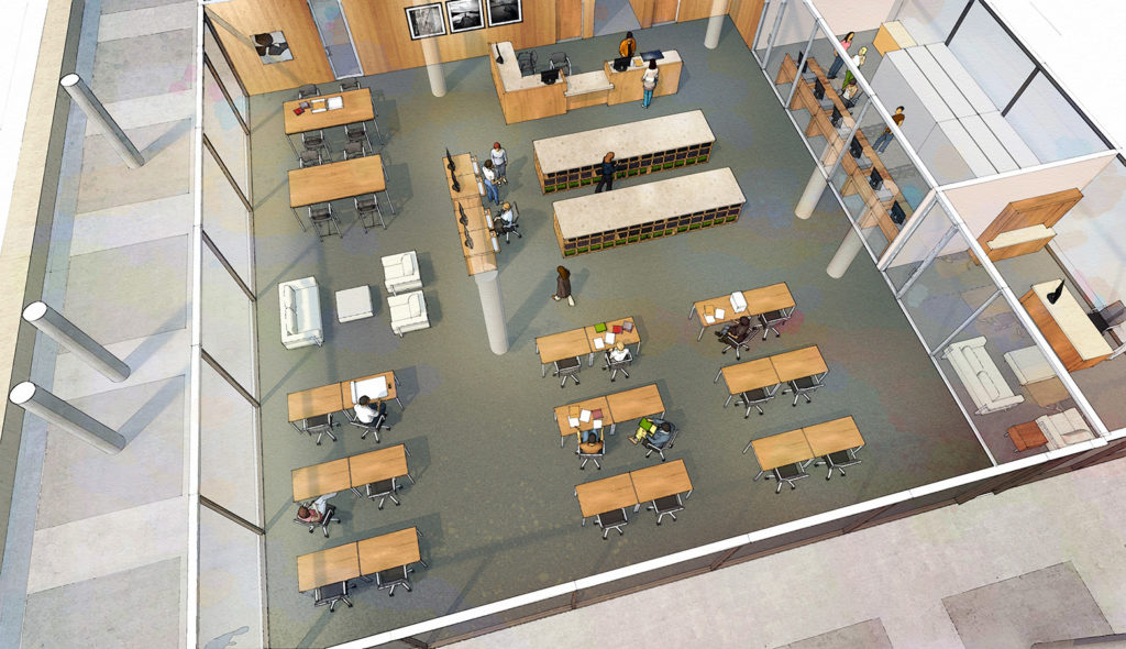 Artist depiction of an aerial shot of the reading room.
