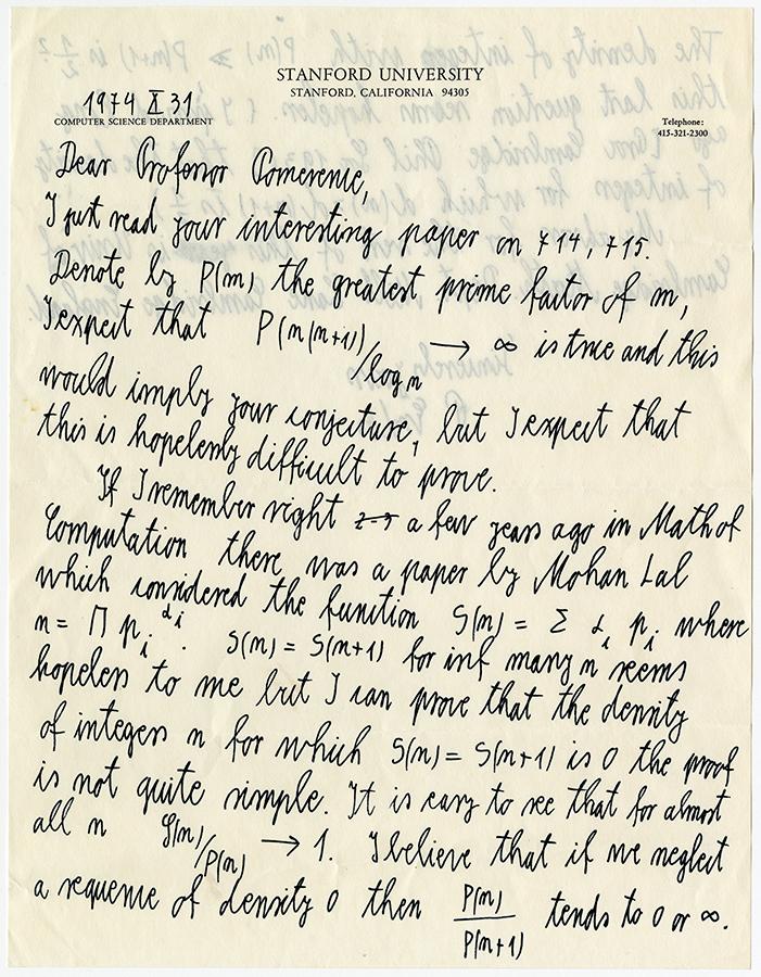 Paul Erdos's letter to Carl Pomerance, 1974. e_pe_00001_001