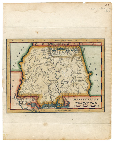 Map of the Mississippi Territory, ca. 1817. Natchez Trace Collection, Map Collection. ntc_0003