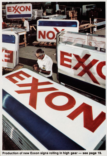 Production of new Exxon signs, 1973. ExxonMobil Historical Collection. di_02173