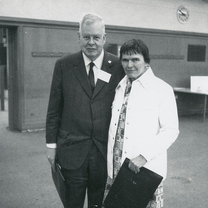 Julia and Raphael Robinson attending the International Congress of Mathematicians, Vancouver, British Columbia, August 20, 1974, Paul R. Halmos Photograph Collection. e_ph_0262_01
