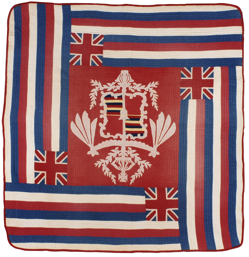 Royal Hawaiian Flag, ca. 1890-1910. Winedale Quilt Collection, Joyce Gross Quilt History Collection. e_wqh_0285