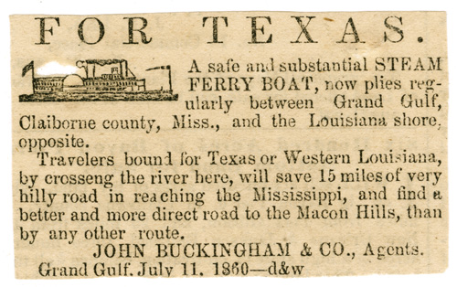 Newspaper advertisement for ferry service, July 11, 1860. Natchez Trace Collection, Steamboat Collection. ntc_0051